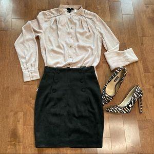 H&M nude satin button down shirt blouse size 2
